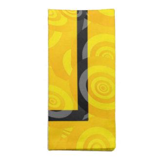 Modelo oval amarillo y negro del círculo servilletas