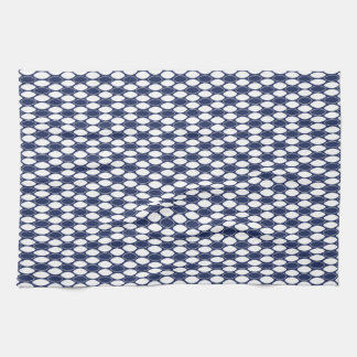 Modelo oval azul marino y blanco toalla de mano