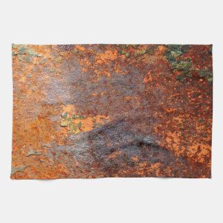 Modelo oxidado retro de la textura del Grunge Toallas De Cocina
