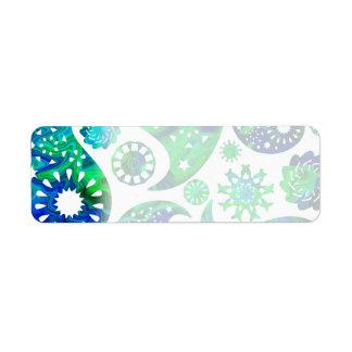 Modelo Paisley de Swirly en verde y azul Etiquetas De Remite