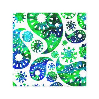 Modelo Paisley de Swirly en verde y azul Impresión En Lona