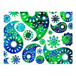 Modelo Paisley de Swirly en verde y azul Postal