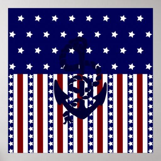 Modelo patriótico del marinero del ancla de las ra poster