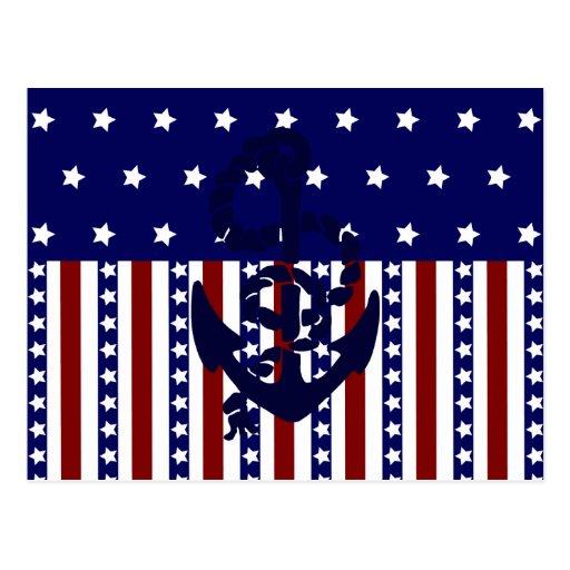 Modelo patriótico del marinero del ancla de las tarjeta postal