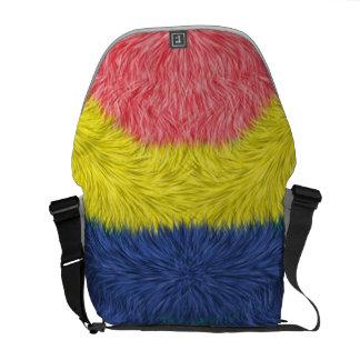 Modelo peludo abstracto colorido bolsas messenger