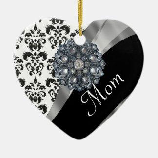 Modelo personalizado del damasco de la mamá adorno de cerámica en forma de corazón
