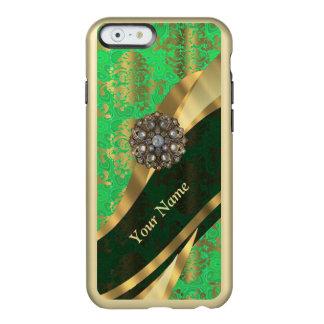 Modelo personalizado del damasco del verde y del funda para iPhone 6 plus incipio feather shine
