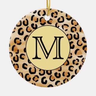 Modelo personalizado del estampado leopardo del adorno navideño redondo de cerámica