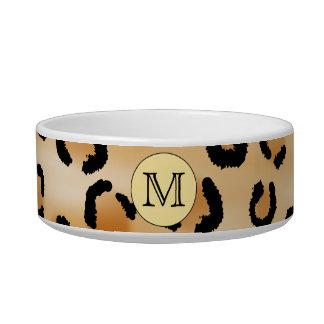 Modelo personalizado del estampado leopardo del mo tazones para agua para gatos