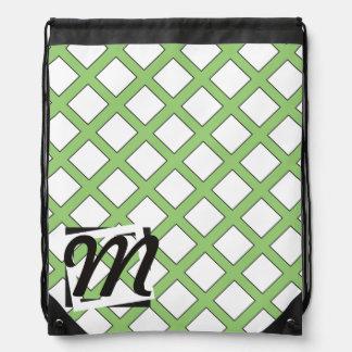 Modelo personalizado del verde del monograma mochila