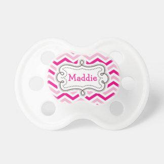 Modelo personalizado niña rosada bonita de Chevron Chupetes Para Bebés