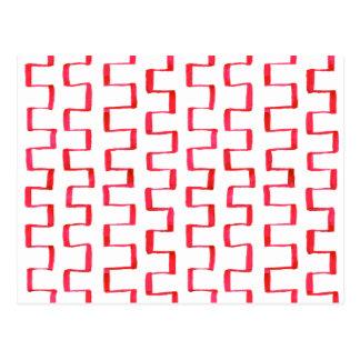 Modelo pintado geométrico rojo abstracto tarjetas postales