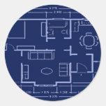modelo - plan de la casa pegatina redonda