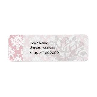 modelo poner crema rosado y blanco silenciado del etiqueta de remitente
