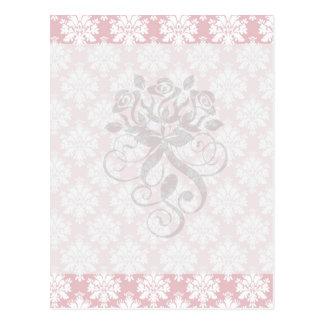 modelo poner crema rosado y blanco silenciado del  tarjeta postal