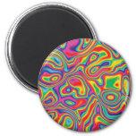 Modelo psicodélico del aceite del arco iris imán de nevera