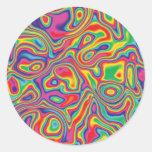 Modelo psicodélico del aceite del arco iris pegatinas redondas