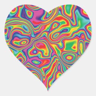 Modelo psicodélico del aceite del arco iris pegatina en forma de corazón