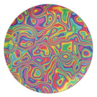 Modelo psicodélico del aceite del arco iris plato de cena