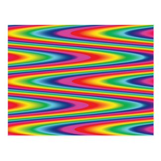 Modelo psicodélico del arco iris del zigzag tarjetas postales