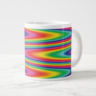 Modelo psicodélico del arco iris del zigzag taza grande