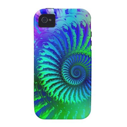 Modelo psicodélico del azul del fractal funda para iPhone 4/4S