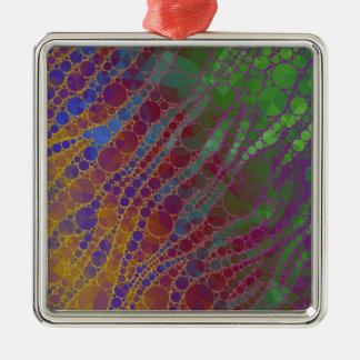 Modelo psicodélico del extracto de la cebra adorno navideño cuadrado de metal