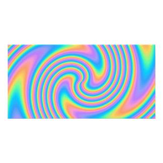 Modelo psicodélico multicolor del remolino de la t tarjeta fotográfica