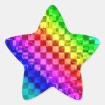Modelo punky retro del control del arco iris 80s calcomanías forma de estrella personalizadas