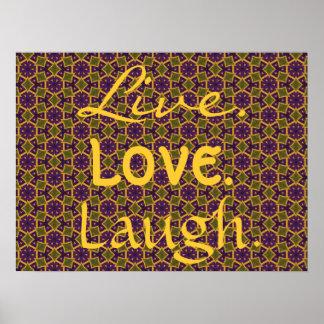 Modelo púrpura 0-0-7 del amor de la risa del verde póster