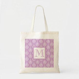 Modelo púrpura 1 del damasco con el monograma bolsa tela barata