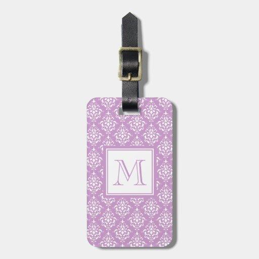 Modelo púrpura 1 del damasco con el monograma etiquetas bolsas