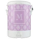 Modelo púrpura 1 del damasco con el monograma enfriador de bebida igloo