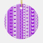 Modelo púrpura abstracto + corazones de las flores adornos de navidad