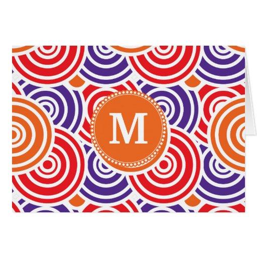 Modelo púrpura anaranjado personalizado del círcul tarjeta