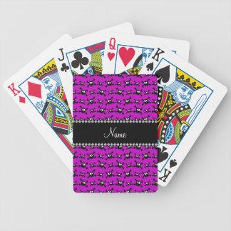 Modelo púrpura brillante conocido personalizado de barajas de cartas
