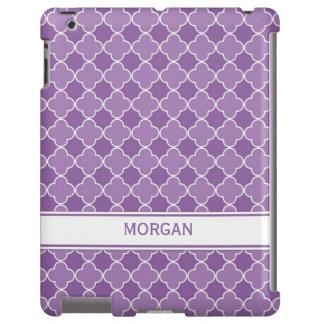 modelo púrpura conocido de encargo de Quatrefoil d Funda Para iPad