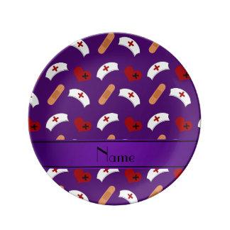 Modelo púrpura conocido personalizado de la plato de cerámica