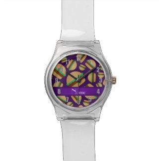 Modelo púrpura conocido personalizado de la relojes de pulsera