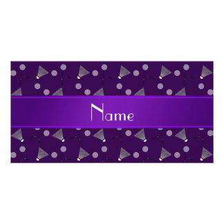 Modelo púrpura conocido personalizado del bádminto tarjeta fotográfica