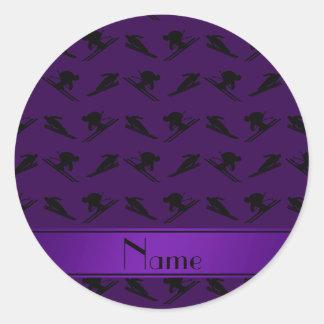 Modelo púrpura conocido personalizado del esquí pegatina redonda