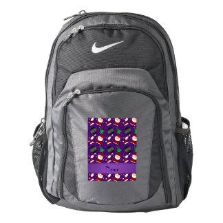 Modelo púrpura conocido personalizado del navidad mochila