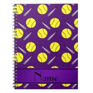 Modelo púrpura conocido personalizado del softball cuadernos