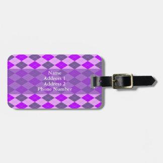 Modelo púrpura de Argyle Etiqueta De Equipaje