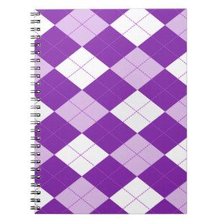 Modelo púrpura de Argyle Spiral Notebook