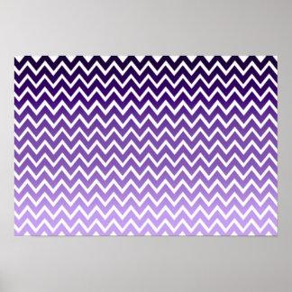 Modelo púrpura de Chevron del zigzag Póster