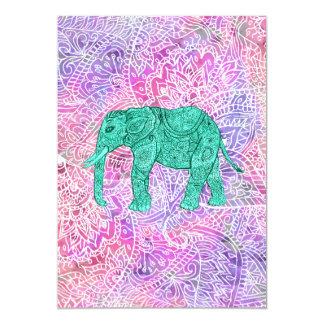 Modelo púrpura de la alheña del elefante tribal de invitación 12,7 x 17,8 cm