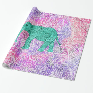 Modelo púrpura de la alheña del elefante tribal de papel de regalo
