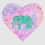 Modelo púrpura de la alheña del elefante tribal de pegatina corazon personalizadas