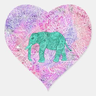 Modelo púrpura de la alheña del elefante tribal de pegatina en forma de corazón